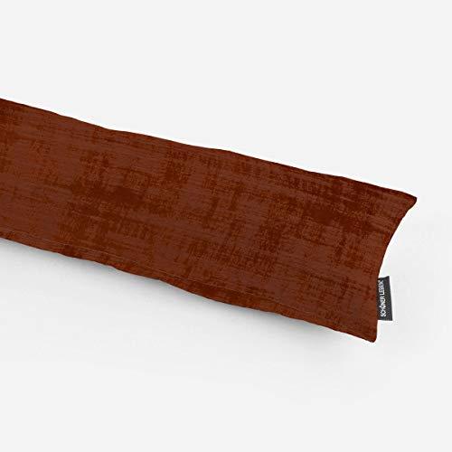 SCHÖNER LEBEN. Zugluftstopper Samt Velvet Marble mit Struktur Uni Terracotta Verschiedene Größen, Auswahl:120cm Länge
