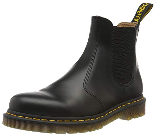 Dr. Martens - 2976 Yellow Stitch Leather Chelsea Unisex Boot - Black Smooth (Womens 8.5 - Mens 7.5)