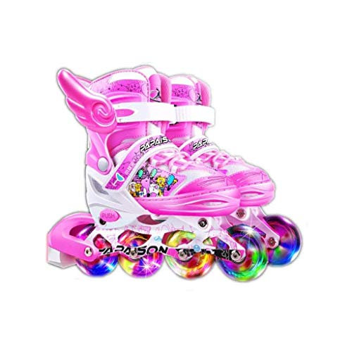 Taoke Inline-Skates, Inline-Skate, mit Einstellbarer Größe und Blitze leuchten Rad, bunten Entwurf Roller Blades, Geeignet for Kinder von 3 bis 12 Jahre alt, (Farbe: Rosa, Größe: 35-38code) dongdong