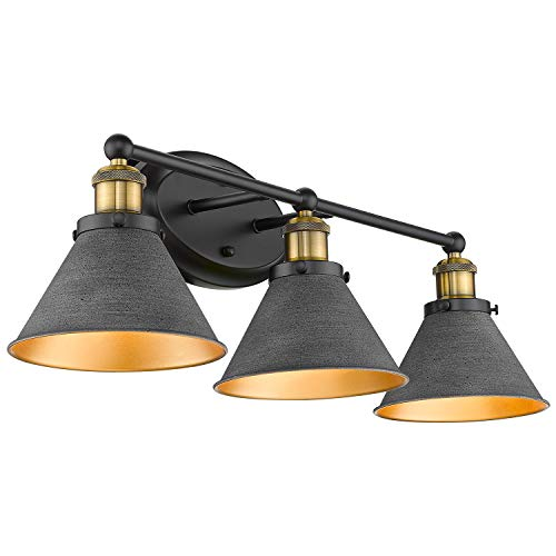 Osimir Farmhouse Bathroom Vanity Light Fixtures, 3-Light Bathroom Light Fixtures in Stone Black Cones Shade, 27 inch Lager Bathroom Lights Over Mirror, WL9172-3