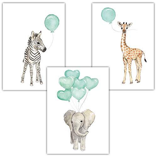 Frechdax® Babyzimmer Bilder Kinder Wandbilder Poster Kinderzimmer   Tiere Luftballon Ballon (3er Set Mint, Elefant, Giraffe, Zebra)