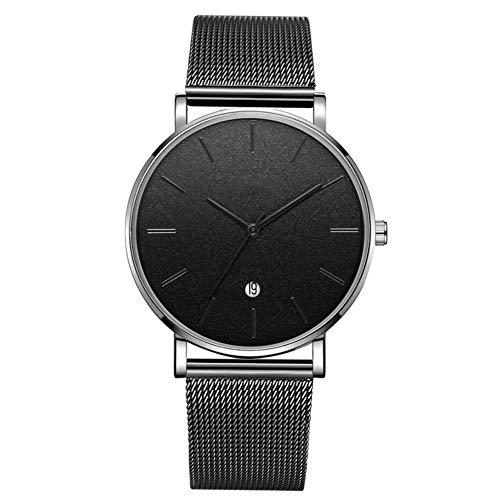 Reloj Moda Dial Redondo Analógico Reloj De Pulsera De Cuarzo (Cinturón Negro Caja De Plata Espejo Negro Aguja Negra)