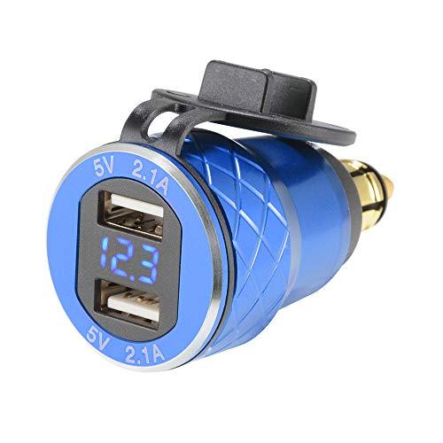 Sun3drucker Dual USB Ladegerät 4.2A Adapter Voltmeter QC 3.0 Schnellladung LED Spannungsanzeige für Motorbike Motorrad BMW DIN Hella Steckdose Blau
