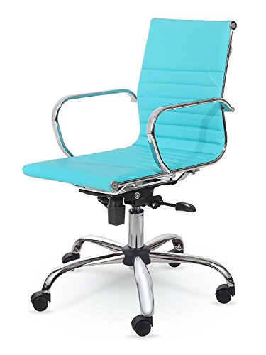 Winport Furniture Mid-Back Executive Leather Armrest Desk Chair, Turquoise