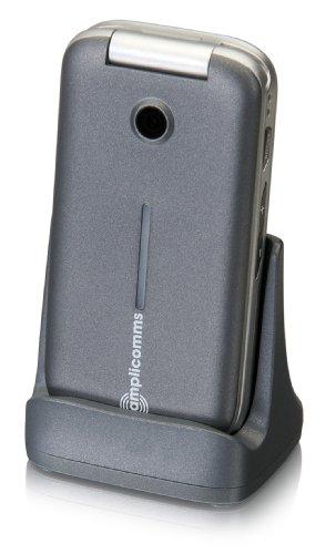 amplicomms PowerTel M7000i, Großtasten-Klapphandy mit extra großen, beleuchteten Tasten & Notruftaste, Freisprech-Funktion, silber