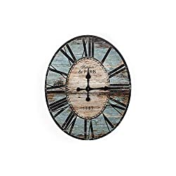 Creative Co-op Distressed Wood Wall Clock, 29 Oval, Turquoise