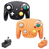 VTone Wireless Gamecube Controller, 2 Pieces 2.4G Wireless Classic Gamepad with Receiver Adapter for Wii Gamecube NGC GC (Black and Orange)