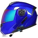 Bluetooth Casque Moto Modulable,ECE Homologué Casques Intégral Flip-Up Modulables Homme et Femme,Adulte Casque de Moto Scooter avec Double Visière C,S55~56CM
