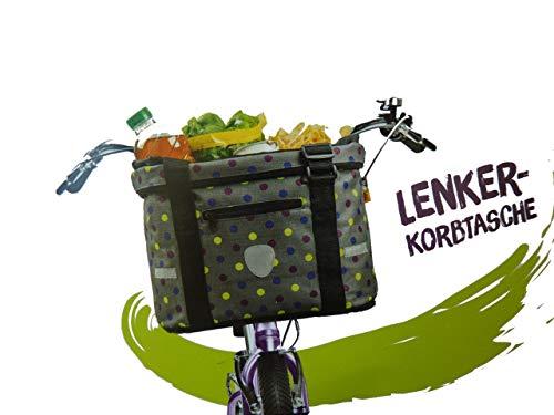 bags & more Fahrradtasche Lenker Korbtasche für Fahrrrad Fahrradkorb Fahrrad Einkaufstasche (grau)