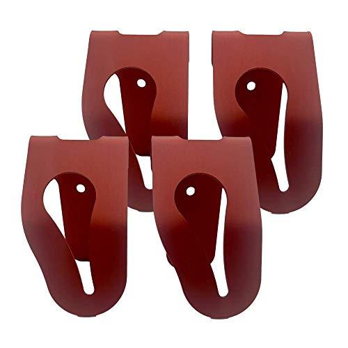 4 Handtuchhalter aus Aluminium zum Klemmen von VDM Family I Handtuchklemme für Küche & Bad I Robust & Langlebig I Selbstklebende Haken I Einfache Montage ohne Bohren I Made in Germany (Rot)