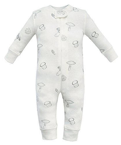 Owlivia Organic Cotton Baby Boy Girl Zip up Sleep N Play, Footless, Long Sleeve(18-24Months, Mushroom)