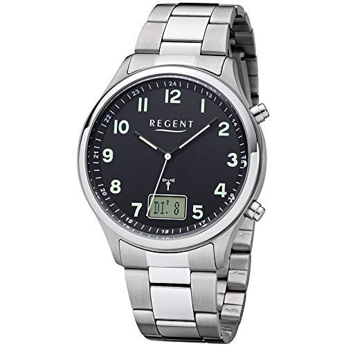 REGENT Herren-Armbanduhr Funkuhr Edelstahl analog-digital Quarz Stahlband silber BA-445