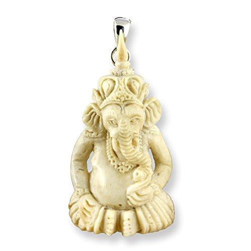 ISLAND PIERCINGS Handgefertigter Anhänger Ganesha aus Hirschhorn und Silber PB260