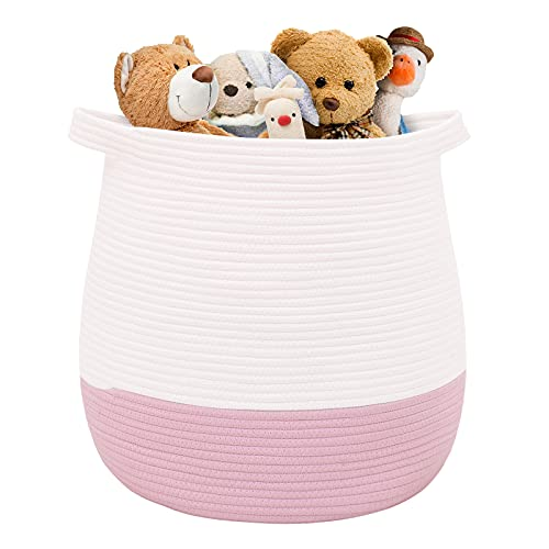 Childishness ndup - Cesta de algodón grande para guardar juguetes, ropa y mantas, cesta redonda con asas para habitación de niños, 45 x 42,8 cm, color rosa