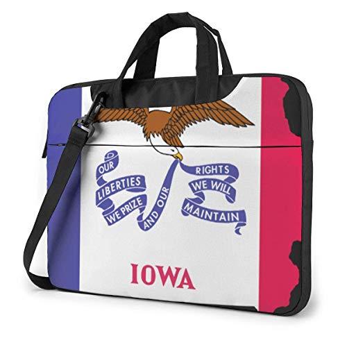 Flag Map of Iowa Fashion Laptop Case Laptop Shoulder Messenger Bag Sleeve for 15.6 Inch