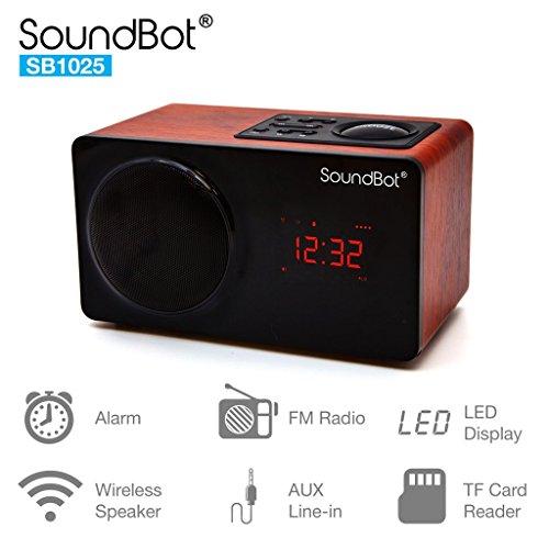 SoundBot SB1025 Alarm Clock FM Radio Bluetooth Wireless Portable Speaker w/Acoustic 76mm Premium 7w Driver, 6Hrs Music Streaming, Built-in Battery, 3.5mm Aux Port LED Display