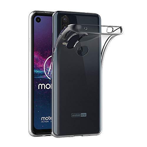 AICEK Hülle Compatible für Moto One Action Transparent Silikon Schutzhülle für Moto One Action Hülle Clear Durchsichtige TPU Bumper Motorola Moto One Action Handyhülle (6,3 Zoll)