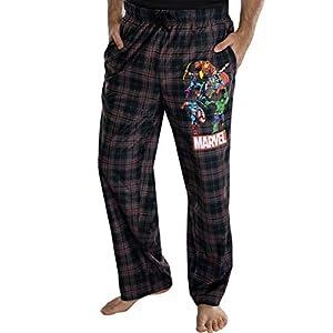 Marvel Comics Men's Vintage Distressed Avengers Plaid Lounge Pants Sleepwear Pajama Pants
