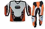 WinNet Completino maglia maglietta + pantalone bimbo e bambino per moto da cross mini quad bmx arancio arancione