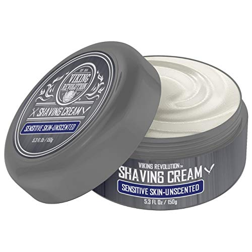 Luxury Shaving Cream for Sensitive Skin- Unscented - Soft, Smooth & Silky Shaving Soap - Rich Lather for the Smoothest Shave - 5.3oz