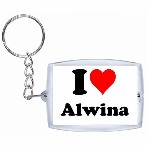"""EXCLUSIVO: Llavero """"I Love Alwina"""" en Blanco, una gran idea para un regalo para su pareja, familiares y muchos más! - socios remolques, encantos encantos mochila, bolso, encantos del amor, te, amigos, amantes del amor, accesorio, Amo, Made in Germany."""