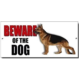 ALSATIAN' BEWARE OF THE DOG metal security warning sign with enamelled finish:Canliiddaa