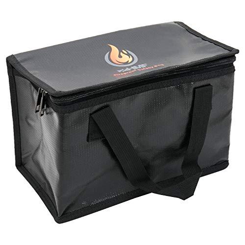 HMF 44160 - Funda ignífuga para baterías LiPo con cremallera, 25 x 15 x 16 cm, color negro