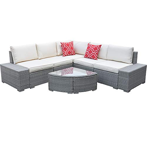 Eco Home 6 Pieces Patio Furniture Sets with Cushion,All-Weather Outdoor Sectional Sofa Manual Weaving Wicker Rattan Patio Conversation Set with Glass Table (Gray)