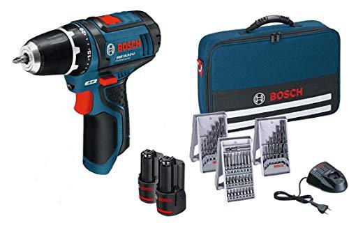 Bosch Professional 0615990GA9 GSR 10,8-2-LI Trapano Avvitatore a Batteria con Accessori, 10.8 V, Nero/Blu
