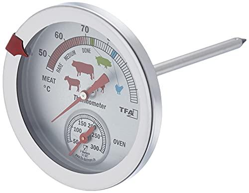 TFA Dostmann 141027 Analoges Braten-/ Ofenthermometer 14.1027, aus Edelstahl, hitzebeständig, mit verschiedenen Garstufen, zur Kerntemperaturmessung, Silber