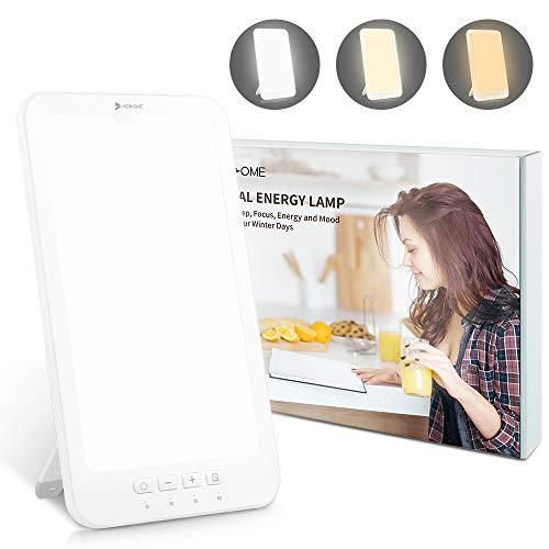 Tageslichtlampe 10000 lux, Hosome USB Typ-C 4 Timer Lampe mit Memoryfunktion, 3 Lichtfarben Lampe Lichtintensität einstellbar, LED Sonnenlicht, flimmer-, UV-frei