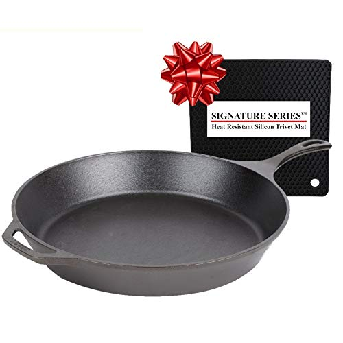 Lodge 15 Inch Pre-Seasoned Cast Iron Skillet, Ready for the Stove, Grill or Campfire + Signature...