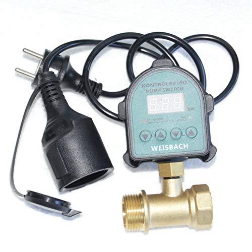Omnigena 2 in 1 Elektronischer Druckschalter + Trockenlaufschutz für Hauswasserwerk mit einem 3-Wege Verteiler u. 1x 1 Außengewinde und 1x 1 Innengewinde