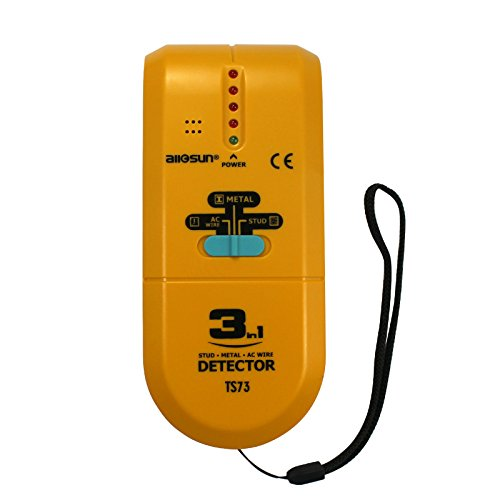 ALLOSUN TS73 3 in 1 LED Wood Stud FinderMulti Stud ScannerElectronic Stud Sensor Wire Cable Wall Metal Detector Finder Home Decoration, yellow