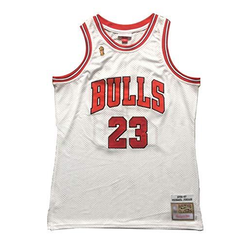 Michael Jordan 96-97 Championship Logo Basketball Trikots #23 Chicago Bulls Classic Herren Stickerei Retro Basketball Uniform T-Shirt (S-2XL)-Weiß-L