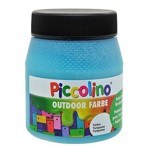 Piccolino Outdoor Dekofarbe Türkis 250ml - umweltfreundliche Bastelfarbe für draußen