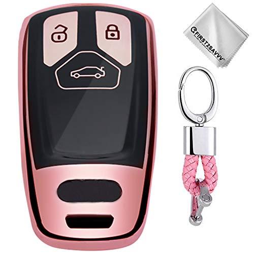 Rosado Funda para Llave Smart Key para Coche 2016 2017 2018 Audi A3 A4 A5 A6 Q3 Q5 Q7 C5 C6 B6 B7 TT S5 S6 S7 3-Buttons - Carcasa Protectora [Suave] de [Silicona]