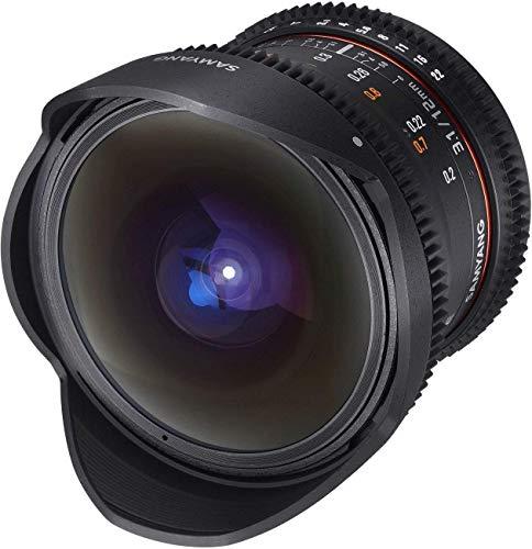 Samyang F1312105101 - Objetivo para vídeo VDSLR para Sony A (Distancia Focal Fija 12mm, Apertura T3.1-22 ED AS NCS, Ojo de pez), Negro
