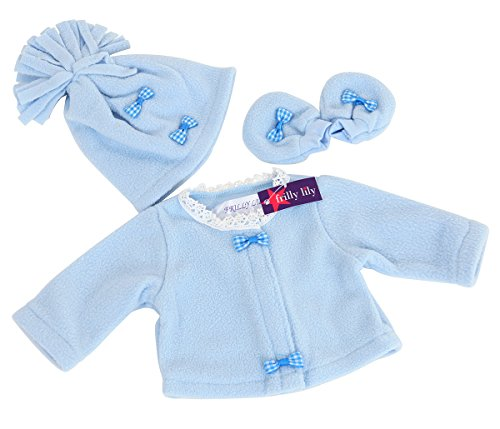 NEW! PALE BLUE FLEECE JACKET ,HAT AND MITTENS SET 14-18 INS 35-45CM [NOT...