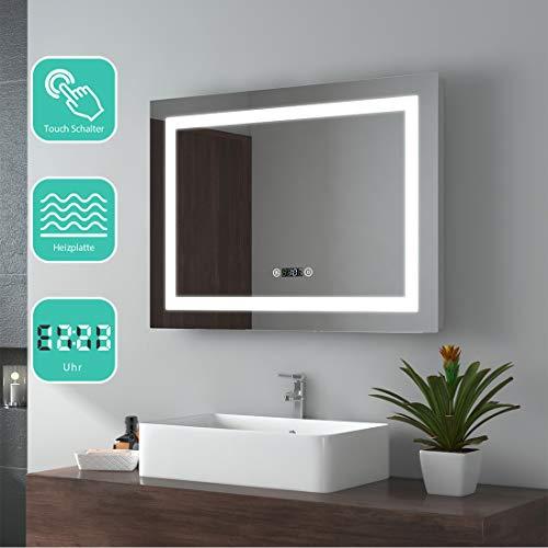 EMKE Espejo de Baño Espejo de baño Espejo LED Espejo de Pared con Interruptor Táctil+Antivaho+Reloj Digital,IP44,49W,Blanco Frío(80x60cm)