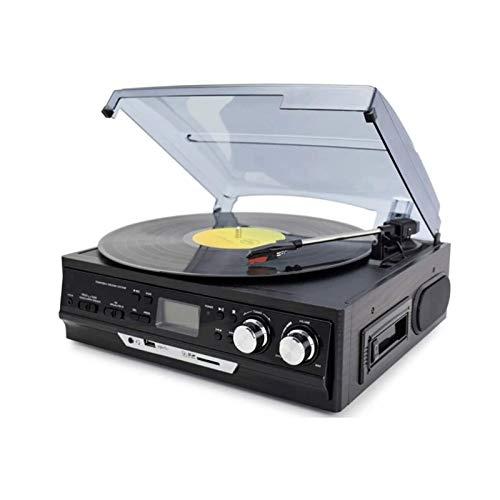 Sdesign Reproductor de grabación, 4 en 1 con Control Remoto, Bluetooth, Radio FM, Reproductor de Cassette, Ranura USB MP3, Cubierta de Cassette, Reproductor de grabación de Vinilo de 3 velocidades.