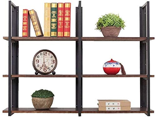 Floating Shelves Wall Mounted Bookshelf,Storage Shelf Bookcase Bookshelf , Wall Shelf Stand Loft Retro Industry ,3 Tier Rectangular Floating Shelf Decorative Industrial Hanging Shelf Industrial Black