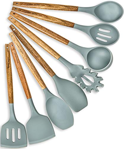 Home Hero Silicone Cooking Utensils Kitchen Utensil Set - 8 Natural Acacia Wooden Silicone Kitchen Utensils Set - Silicone Utensil Set Spatula Set -...
