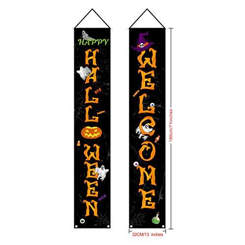 Halloween-Dekorationsset für Türpaare, Veranda, Banner, hängende Flagge, Dekoration für Zuhause