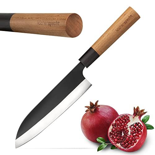 küchenspecht Santoku Messer - 17cm Allzweckmesser im klassischen Design - japanisches Messer mit edlem Kirschholzgriff - für leidenschaftliche Hobbyköche