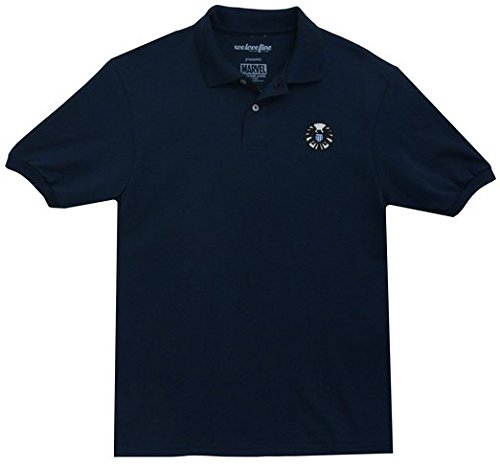Avengers Marvel Men's Blue Polo with Shield Logo Adult Large