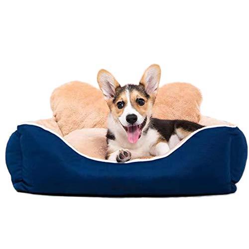 EREW Cuna para Mascotas de Terciopelo ártico, Totalmente extraíble y Lavable, cómodo sofá para Mascotas con Fondo Antideslizante, Cama para Perros con Almohada de Hueso, diseño de Dos Caras,L