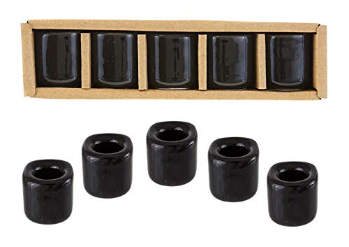 Kheops International 5 pcs Set of Ceramic Chime Ritual Spell Candle Holders, Great for Casting Chimes, Rituals, Spells, Vigil, Witchcraft, Wiccan Supplies & More – Black