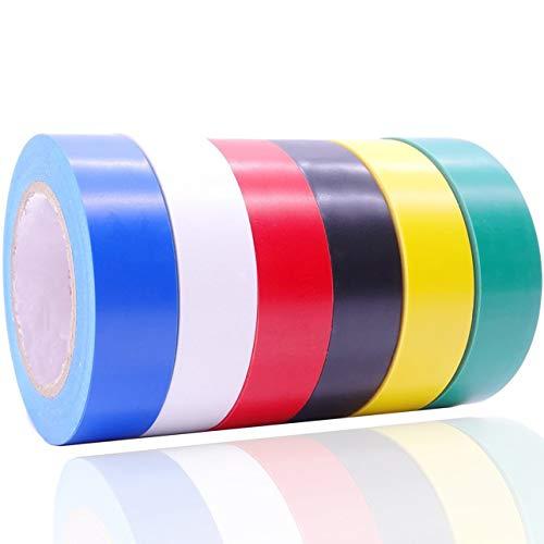 YtBUBOR Elektrisches Isolierband, 17 mm x 15 m, selbstklebendes Gaffer-Klebeband, 6 Farben, 6 Stück