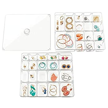 mDesign Stackable Plastic Storage Jewelry Box - 2 Organizer Trays with Lid for Drawer Dresser Vanity - Holds Necklaces Bracelets Bangles Rings Earrings - 3 Pieces - Clear